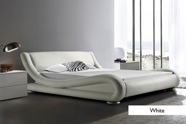 Double White Leather Bed Frames